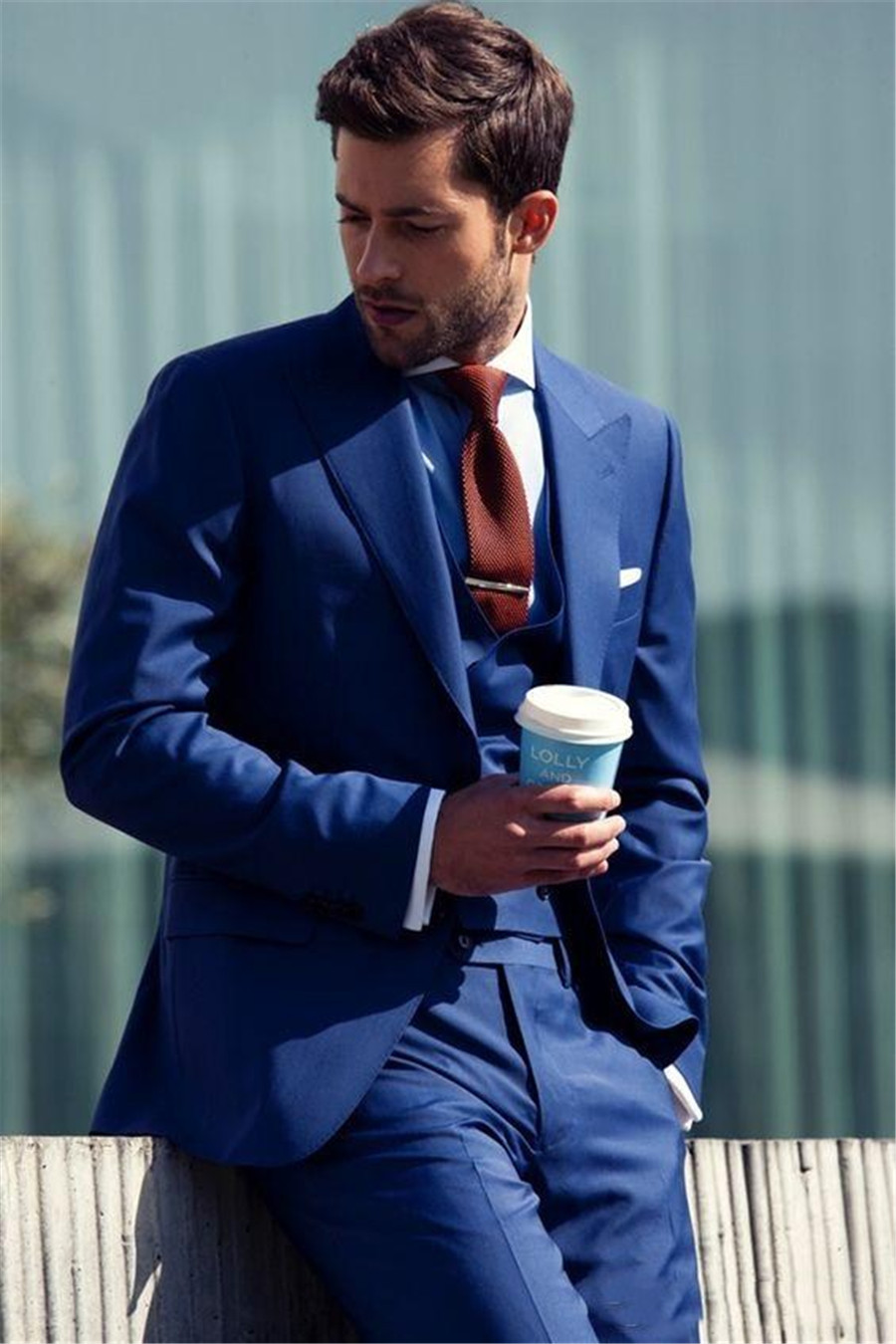 High Quality Royal Blue Wedding Tuxedos Slim Fit Suits Men Custom Groom Suit Groomsmen Tuxedos Three Pieces (Jacket+Pants+Vest)