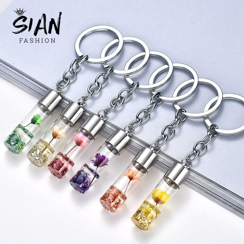 SIAN Acrylic Eternal Flower Pendant Keyring Drift Bottle Keychain Women Backpack Pendant Key Ring Sister Girlfriend Key Holders