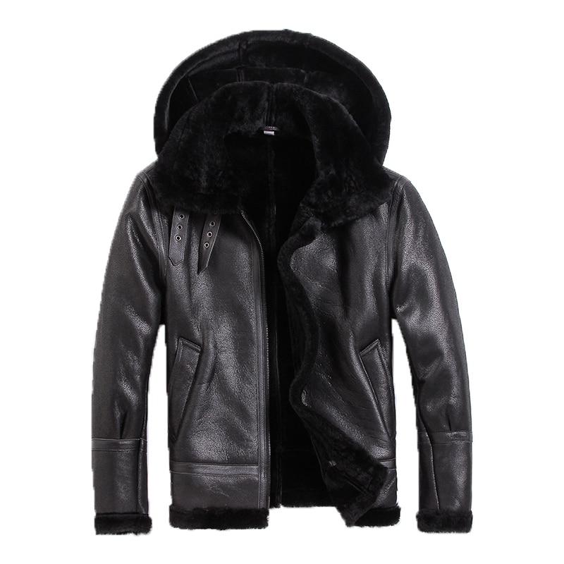 Leather Jacket Men Sheep Shearing Real Fur Coat Natural Wool Coat for Mens Clothing Winter Jacket Jaqueta De Couro S-N-14 YY974