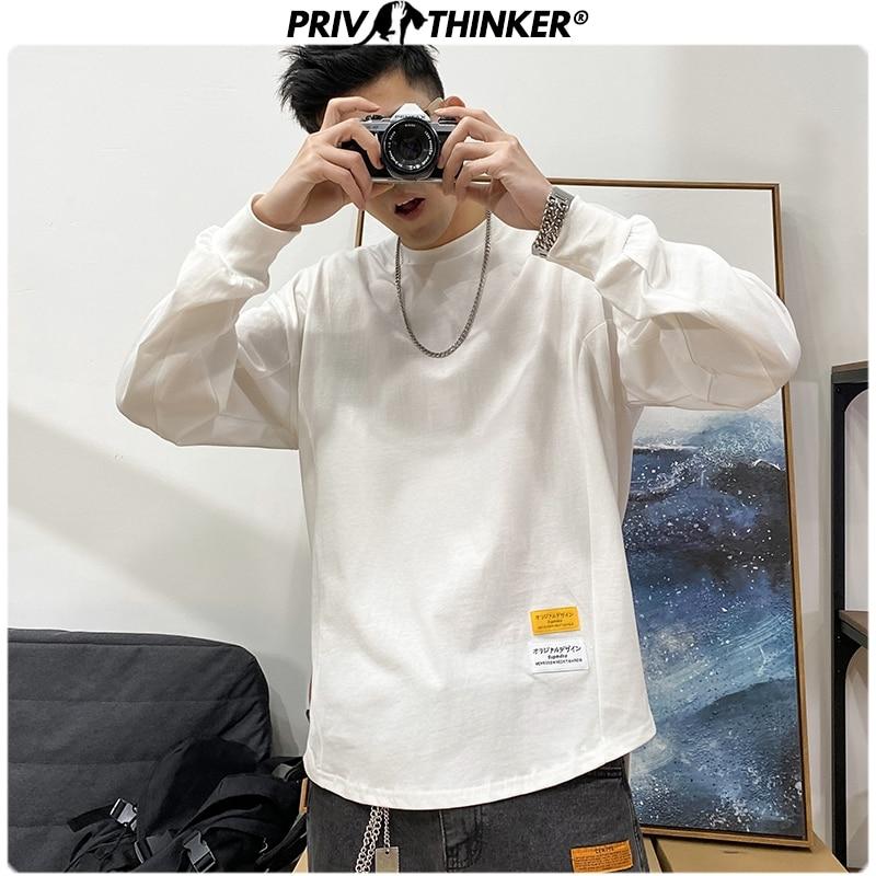 Privathinker Men Long Cleeve Print Tshirt Mens Spring 2020 Streetwear Hip Hop T-Shirt Male Loose Korean Harajuku Japan T-shirts