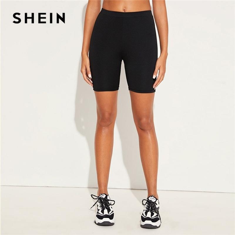 SHEIN Black Active Wear Skinny Biker Short Pants Women Bottoms 2020 Spring Elastic Waist Casual Ladies Stretchy Short Leggings