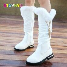Crianças botas meninas botas de couro genuíno inverno moda joelho alta martin botas mais veludo pele de coelho quente crianças sapatos de princesa