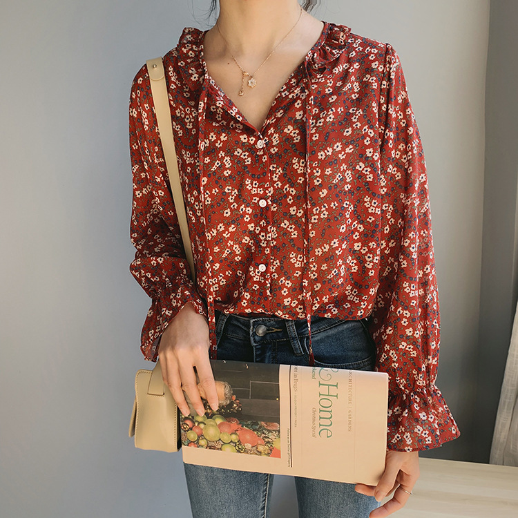2020 Spring And Autumn New Korean Sweet Temperament Cute Age-reducing Floral Chiffon Shirt Women