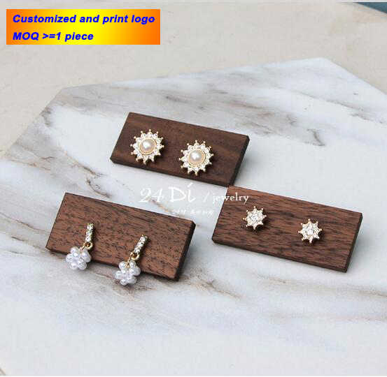 WOWCUTE Earrings Organizer Jewelry Display Wood Stand S