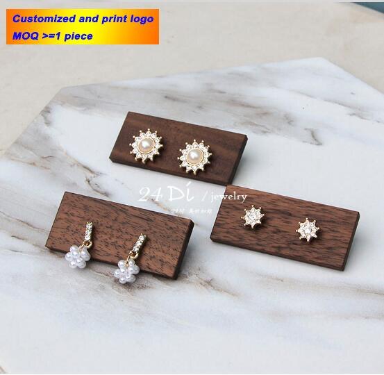 Wooden Earring Display Stand Wood Earring Holder Jewelry Earrings Rack Showcase Jewelry Organizer