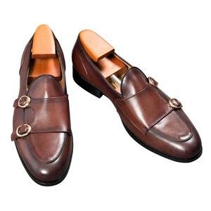 Image 3 - Cuir véritable hommes chaussures décontractées marron bleu couleur bureau affaires Oxford Double boucle sangle italie Style chaussure