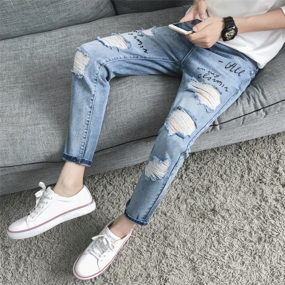 Men Denim (Ankle-length Pants) Spring And Autumn Skinny Casual 9 Pants Thin Slim Fit Korean-style With Holes Jeans