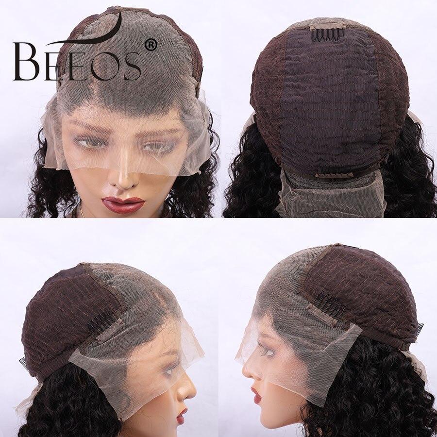 Beeos волнистые цветные красные парики 150% женские 13*6 кружевные передние человеческие волосы парики предварительно выщипанные глубокие разделенные бразильские Remy transapent HD кружева - 3