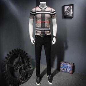 Image 2 - 2019 남자 셔츠 여름 짧은 소매 패션 라운드 칼라 t 셔츠 인쇄 통기성 남자 t 셔츠