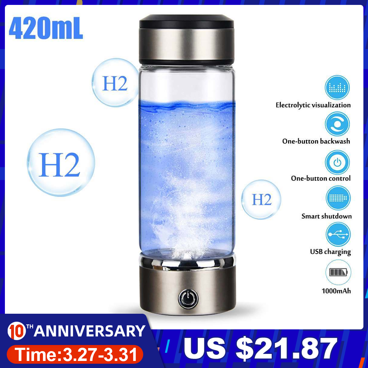 3mins 420ML Portable Water Ionizer Bottle Rechargeable Negative Ion Water Cup Hydrogens-rich Water Cup Water Generator Alkaline