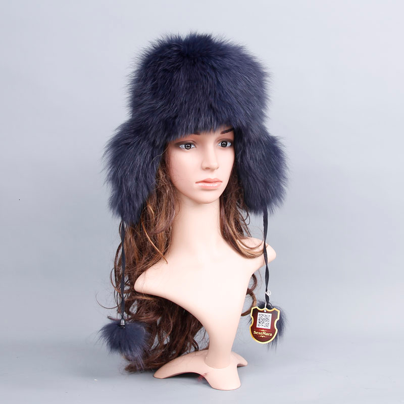 Real Fox Fur Hat For Women Luxury Warm Winter Fox Fur Cap Genuine Raccoon Fur Solid New Thick Female Cap Bomber Hats For Girls