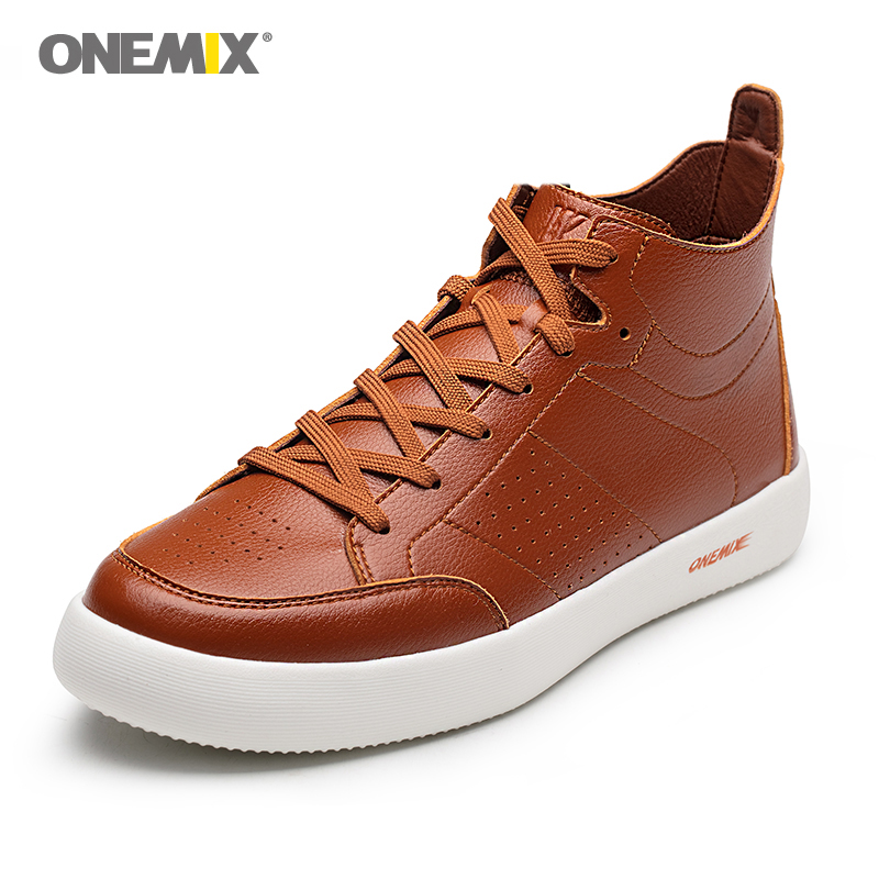 ONEMIX Men <font><b>Skateboarding</b></font> <font><b>Shoes</b></font> Action Leather Platform Men Sport <font><b>Shoes</b></font> Outdoor Men Jogging <font><b>Shoes</b></font> Leather Sneakers Free Shipping image