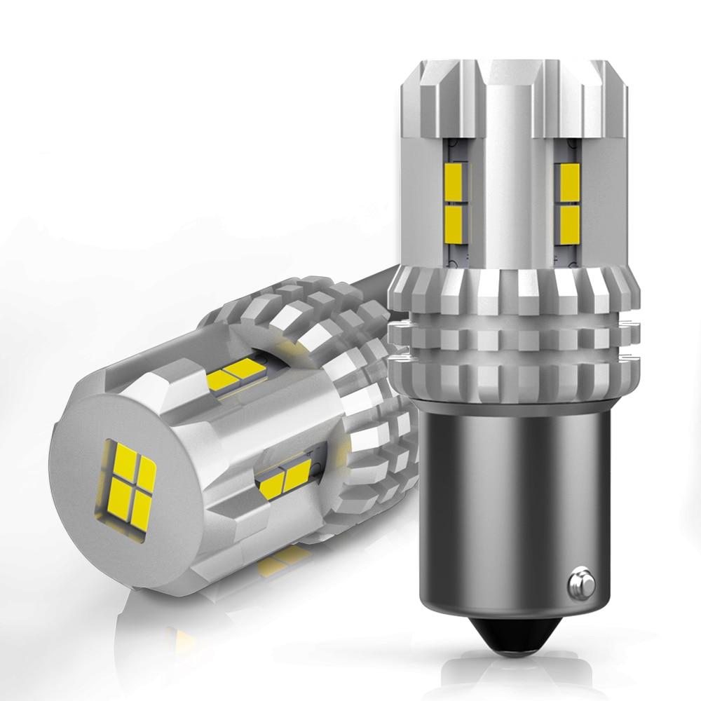 2x P21W LED Canbus 1156 BA15S R5W bombilla LED 7443 T15 coche luces de freno reverso lámpara DRL para Audi Nissan LADA BMW KIA Hyundai