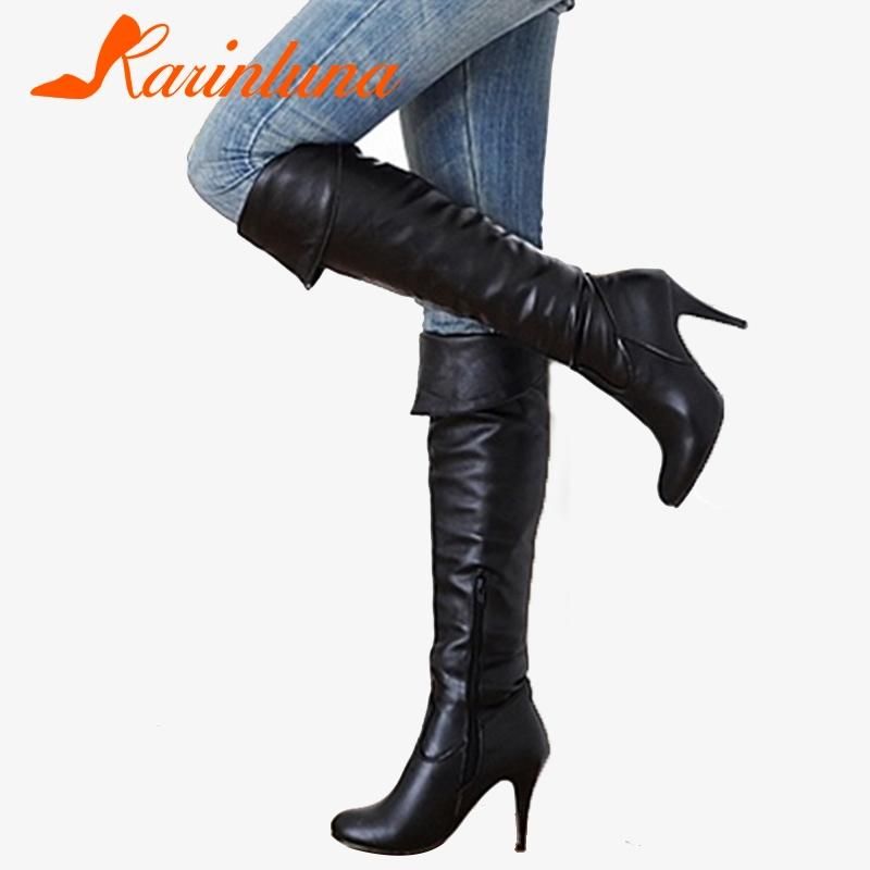 Karinluna Classic dropship large sizes 50 thin high heels Women's Shoes Woman 2019 sexy party women knee-high boots woman