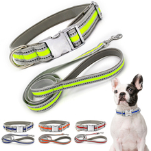 Reflective Nylon Dog Collar Personalized Tag Pet Leash Harness Rope Adjustable Small Medium Basic Dogs D35