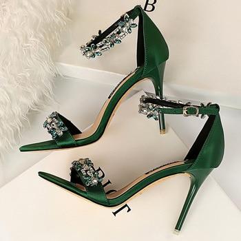 9cm High Heels Crystal Sandal Stiletto Satin Strap Heels  1
