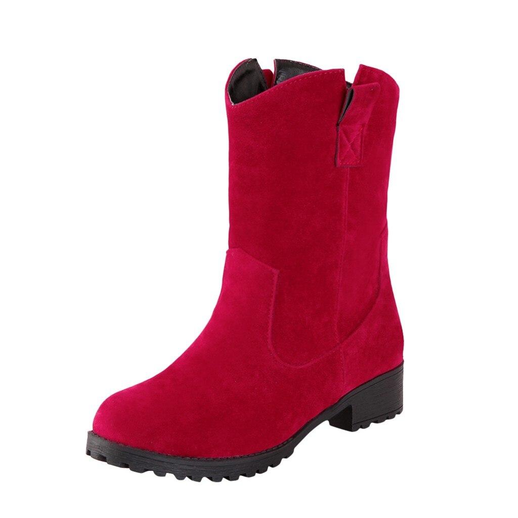 KANCOOLD/Женские Ботинки martin; ботинки Осень-зима; классические зимние ботильоны; зимняя замшевая теплая женская обувь из флока с мехом и плюшем; Размеры 35-43 - Цвет: RD