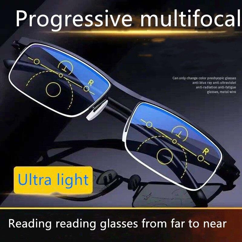 Okuma gözlüğü erkekler ve kadınlar için çift amaçlı akıllı ilerici multifokal otomatik zoom