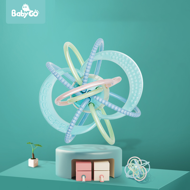 BabyGO 0-24 Months Baby Soft Teether Toy Eco-Friendly Material Manhattan Hand Catching The Ball Educational Rattle Baby Toys