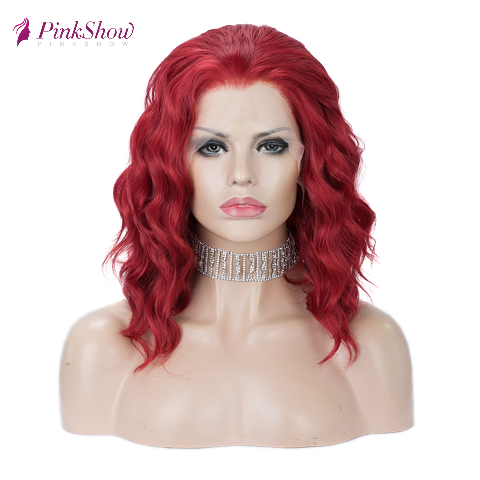 Pinkshow Red Lace Wig Short Synthetic Lace Front Wigs For Women Deep Wave Hair Heat Resistant Fiber Cosplay Wig