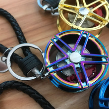 Diameter 4CM Car Rim five-pointed Wheel with brake disc plastic Rope knot hellaflush style keychain for JDM Accessories