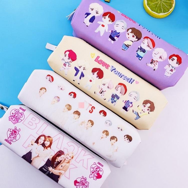 10 Bags/lot Kpop Jimin Suga Rm Jungkook V Jin Jhope Love Yourself Blackpink Cartoon Figure Pen Pencil Bag Storage Bag Toy Gift