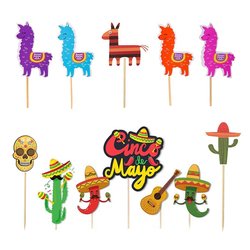 Conjunto Chapéu de Festa Fiesta Mexicana Cactus Alpaca Donkey 1 Cupcake Topper do Bolo Chá De Bebê Decoração Fontes Do Aniversário de Casamento do Verão