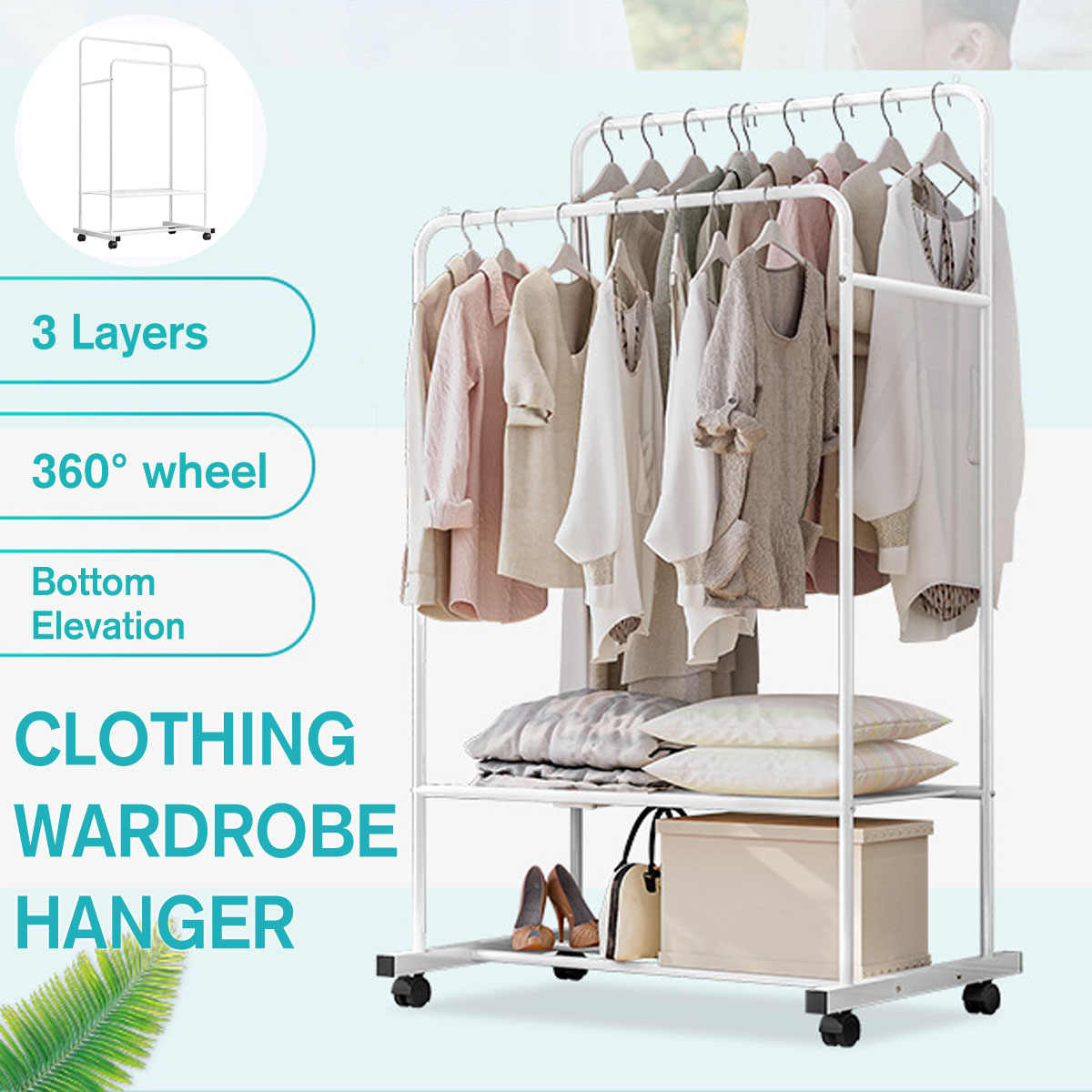 Clothes Hanger Metal Clothing Drying Racks Coat Rack Scarf Hat Wardrobe Portable