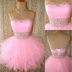 Nouveauté 2020 Mini robes de bal courtes roses robes de Cocktail en cristal paillettes perlées à volants courtes robes de retour