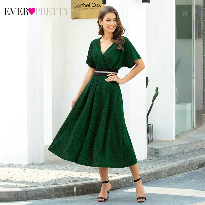 Elegant Dark Green Cocktail Jurken Ever Pretty Ruches A-lijn V-hals Korte Mouwen Thee-Lengte Partij Jassen Robe Cocktail Femme