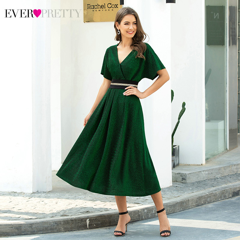 Elegant Dark Green Cocktail Dresses Ever Pretty Ruffles A-Line V-Neck Short Sleeve Tea-Length Party Gowns Robe Cocktail Femme