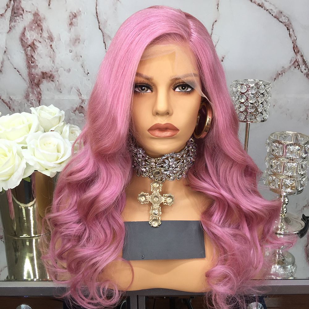 JRX Human Wig Hairline Body-Wave Lace-Front Women Brazilian Pre-Plucked Pink for Natural