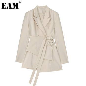 [EAM]  Women Irregular Bandage Spliced Blazer New Lapel Long Sleeve Loose Fit Jacket Fashion Tide Spring Autumn 20201DA710