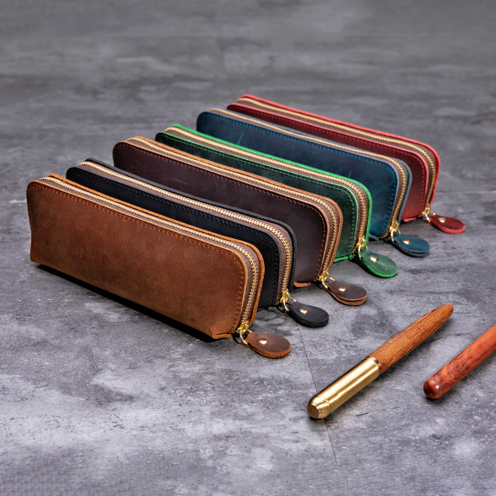 100% Genuine Leather Pencil Bag Zipper Bag Pen Storage Pouch Handmade Vintage Retro Creative School Stationary Products