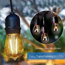49 Ft Outdoor String Lights Long Patio Weatherproof Commercial Party Christmas Halloween Backyard Deck Lights 15 Sockets Bulbs