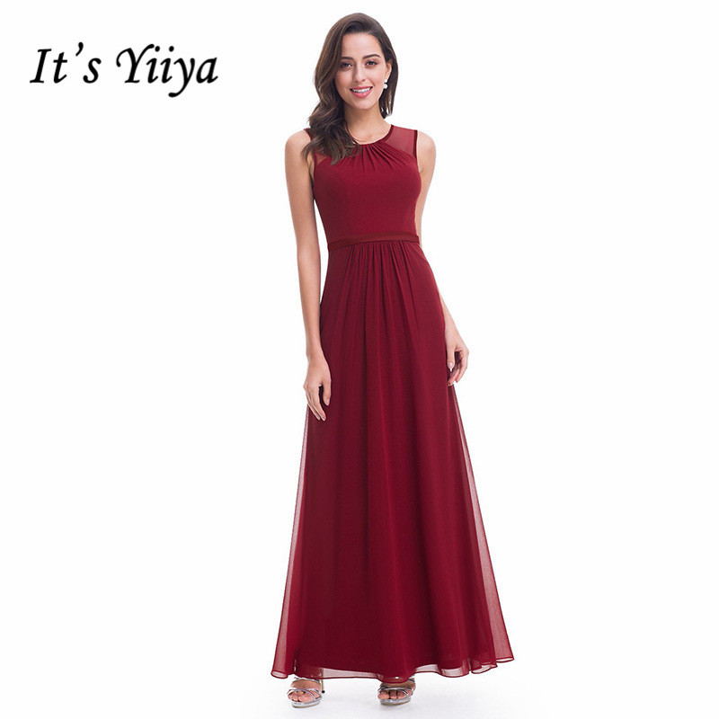 It's Yiiya Evening Dress O-neck Tank Women Party Dresses A-line Robe De Soiree Plus Size Long Elegant Formal Gowns C431