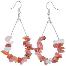 TUMBEELLUWA Sliver-color Water Drop Natural Chips Stone Dangle Earrings Healing Crystal Beads Fashion Earrings for Women Jewelry цена 2017