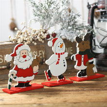 DIY Christmas creative wooden detachable ornaments Xmas New Year Coloured drawing Santa Claus Snowman Elk Desktop Small Ornament