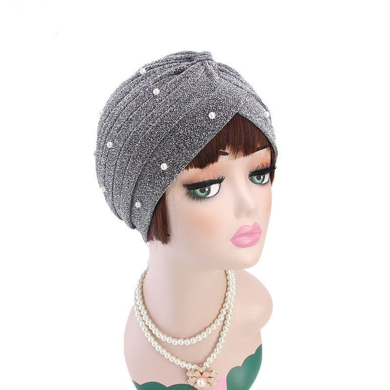 Image 3 - Helisopus 2020 Fashion Women Muslim Shiny Pearls Beaded Mesh  Headwrap Hair Lose Turban Headwear Cap for Women Hair  AccessoriesWomens Hair Accessories