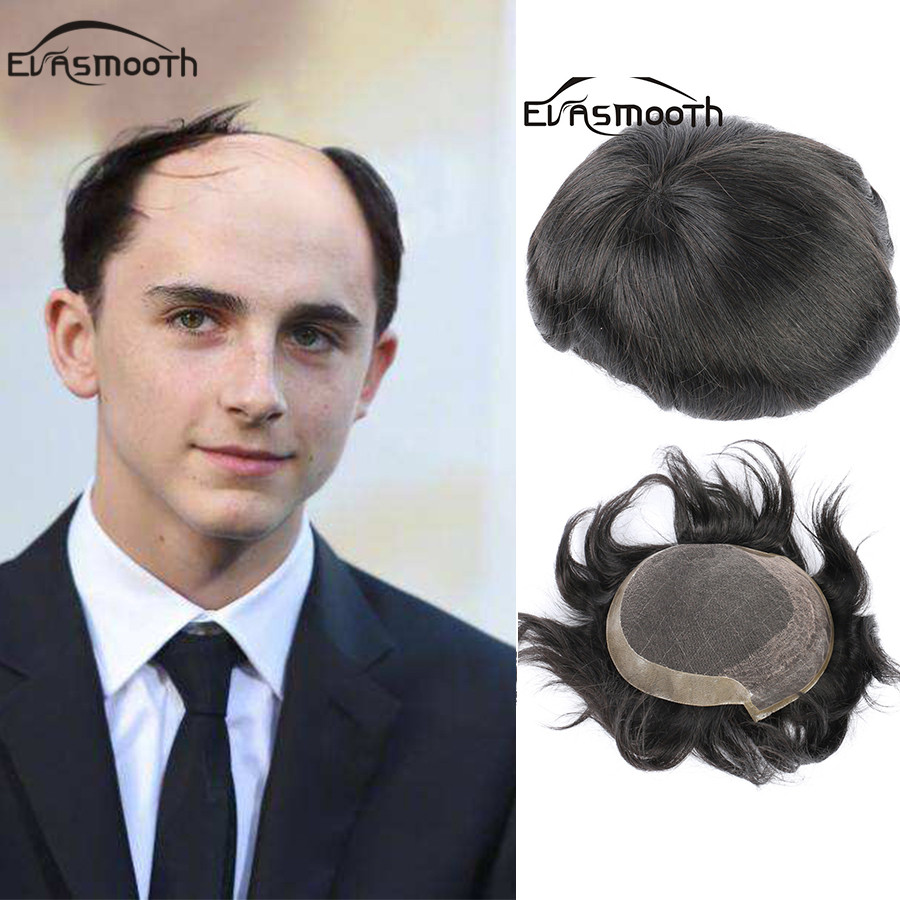 Black 1B# Gentleman Hair Extension For Men Toupee Hair Wig Natural Human Indian Remy Hair Replacement Male Wig Lace Front Wigs