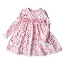 春の新作秋コーデュロイプリントピーターパン襟手作りスモッキングベルトレース女の子 3 7yrs フル長袖の綿ドレス