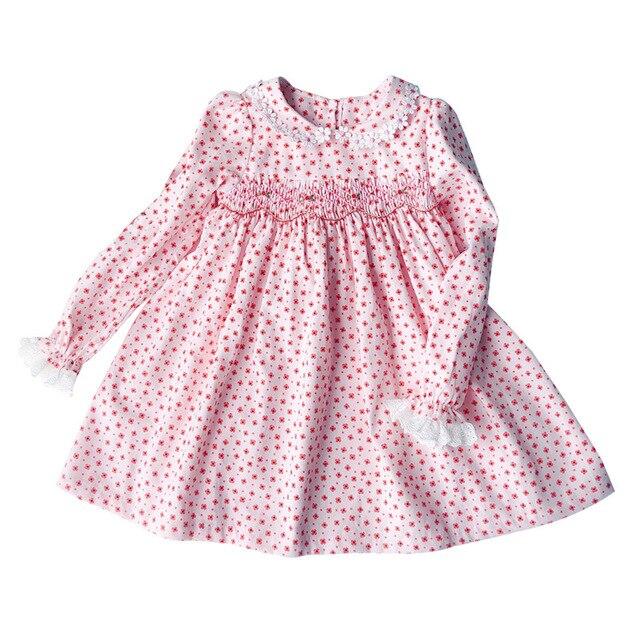 New Spring Autumn Kids Corduroy Printed Peter Pan Collar Handmade Smocking Belt Lace Girls 3 7yrs Full sleeved Cotton Dresses