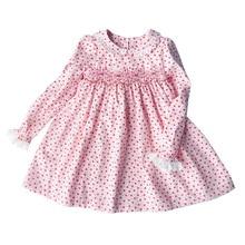 Nouveau printemps automne enfants velours côtelé imprimé col claudine à la main smocks ceinture dentelle filles 3 7 ans à manches longues robes en coton