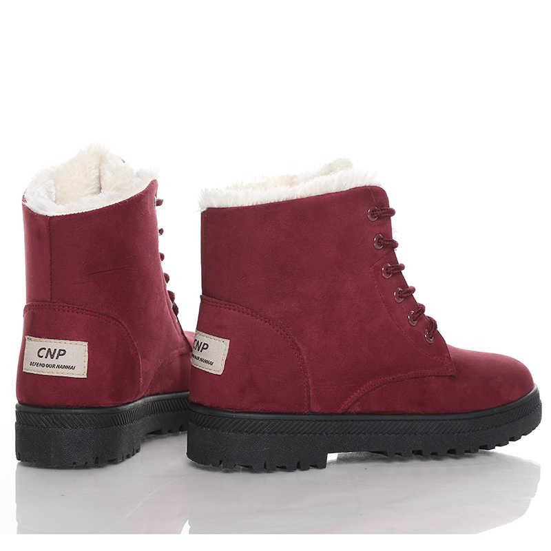 Frauen Schnee Stiefel Frau Stiefel 2019 Frauen Winter Stiefel Warme Pelz Winter Stiefeletten Frauen Schuhe Lace-up Weibliche schuhe