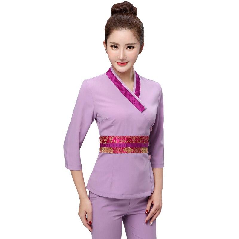 Women Workwear 2pcs Sets Female Sauna Foot Bath Uniforms  Beauty Clothing Beautician Medical Work Clothes SPA Uniform