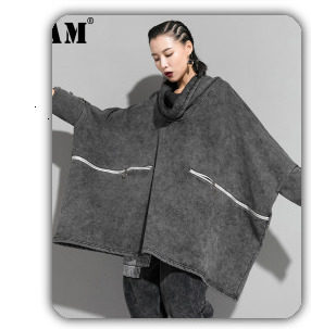 [EAM] 2019 New Winter Hooded Long Sleeve Solid Color Black Cotton-padded Warm Loose Big Size Jacket Women parkas Fashion JD12101 21