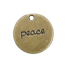 HAEQIS10pcs 20mm Round Peace Pendant Charms Double Sided With Peace And Peace Sign Stamped AAC181 peace