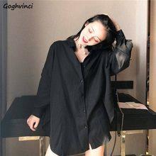 Camicette da donna camicie di Chiffon manica lunga primavera nero BF Ulzzang allentato All-match moda top Chic donna studenti Casual semplice