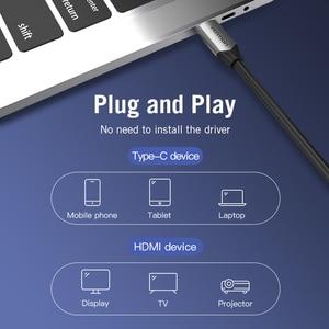 Image 4 - Câble USB C HDMI 4K Type C vers HDMI adaptateur Thunderbolt 3 pour Huawei P40 Mate 30 Pro MacBook Pro Air ipad câble usb c