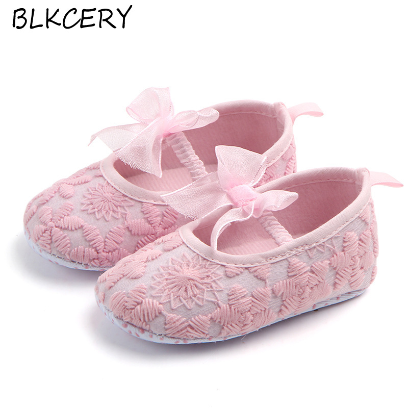 Fashion Baby Girls Crib Shoes Newborn First Steps Toddler Flower Bow Loafers Infant Tenis for 1 Year Old Footwear Doll Shoe Gift